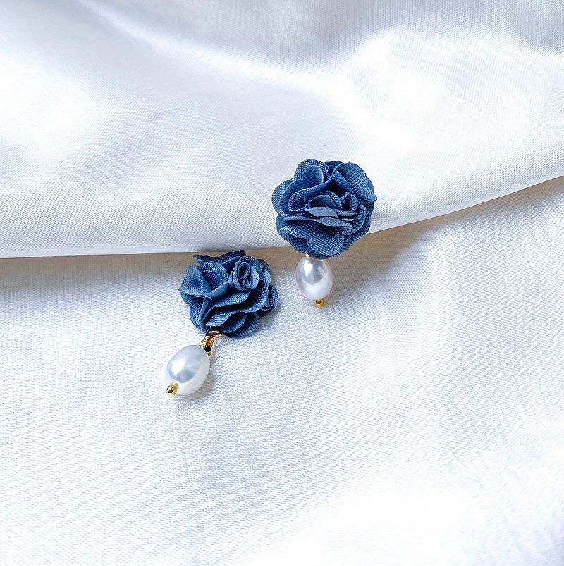 RURI | 藍色希望之花 淡水珍珠 耳環 耳夾