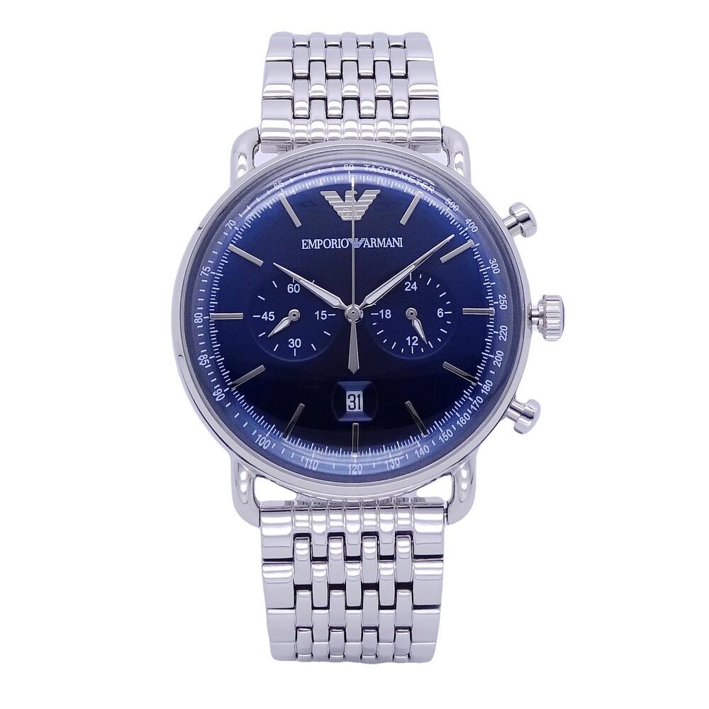 armani 米蘭時尚之神降臨優質品味腕錶-銀+藍-ar11238
