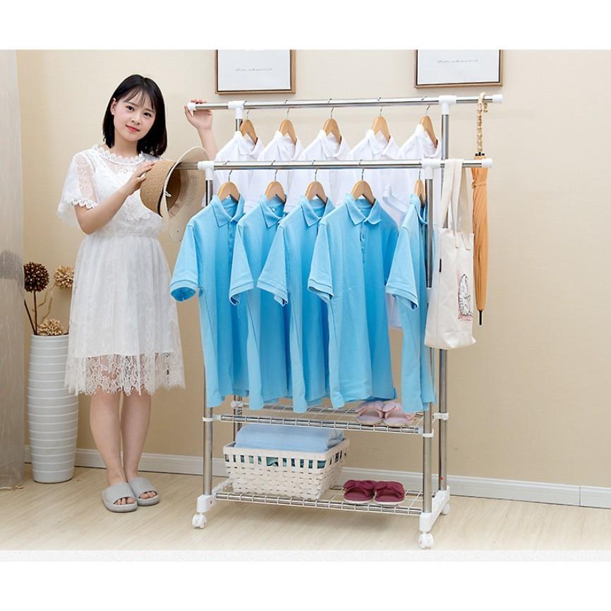 一件免運 晾衣架落地雙杆式伸縮不鏽鋼室內涼衣架簡易曬衣架涼衣架曬架 - 雙層升級款>長170cm