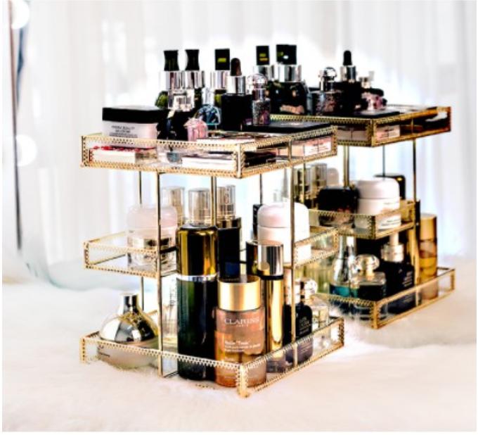 歐式玻璃旋轉化妝品架子收納盒桌面多層香水梳妝台口紅整理置物架