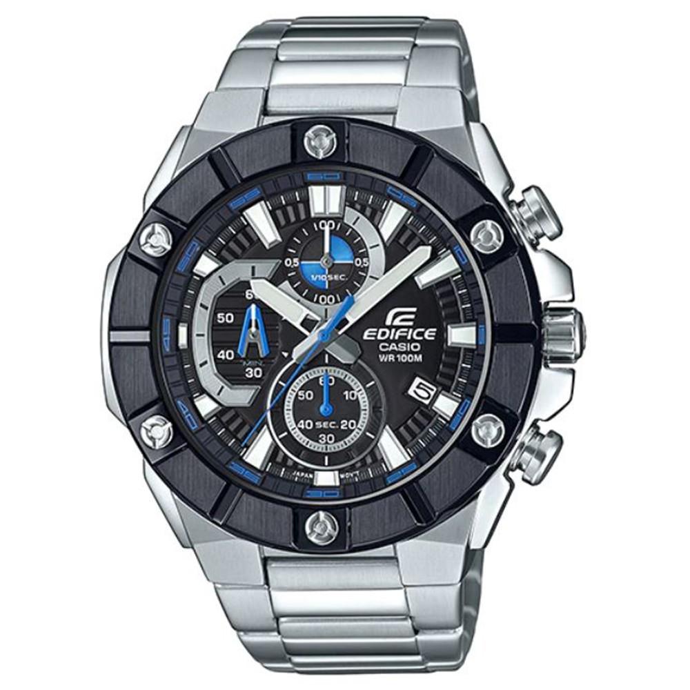 casioedifice 超強悍鎖螺絲錶圈不鏽鋼錶-銀x黑圈(efr-569db-1a)