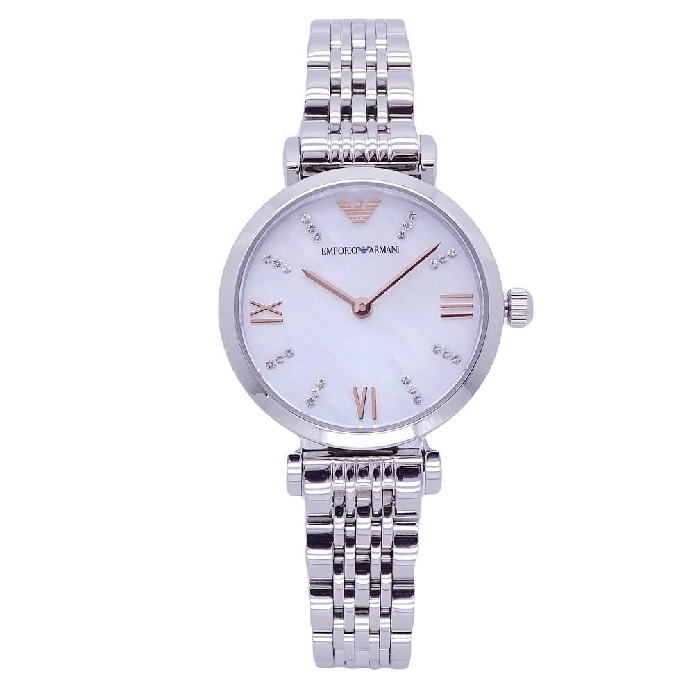 armani 新貴族的選擇晶鑽風格優質女性腕錶-銀-ar11204