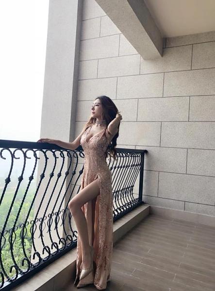 重工V領雙開叉加長洋裝 閃亮片修身名媛度假連身裙禮服  店慶降價