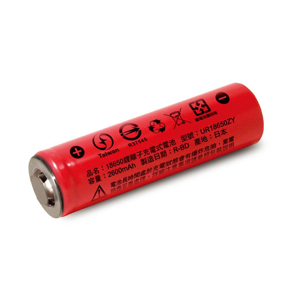 【日本iNeno】18650鋰電池2600mAh內置日本松下(凸頭)1入組(台灣BSMI認證)