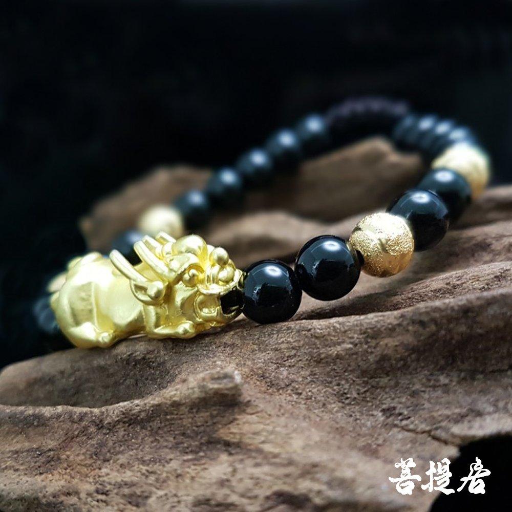 【菩提居】金砂貔貅黑繩手鍊(6mm)