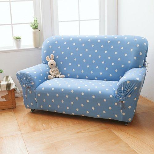 【格藍傢飾】雪花甜心涼感彈性沙發套2人座-蘇打藍