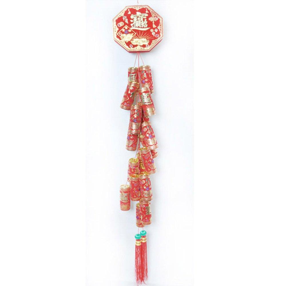 農曆春節 {紅色招財進寶錢滾錢中型鞭炮串} 吊飾掛飾