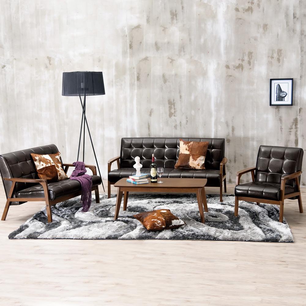 Boden-曼哈頓實木沙發椅組(1+2+3人座)