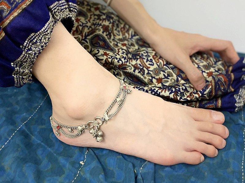 ginagypsy印度奢華鍍銀腳鍊