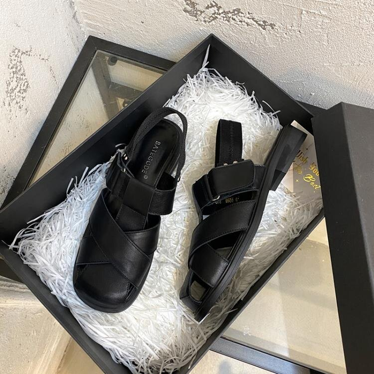 ins韓版2020春夏季新款復古單鞋方頭英倫低跟平底包頭羅馬涼鞋女 全館特惠8折