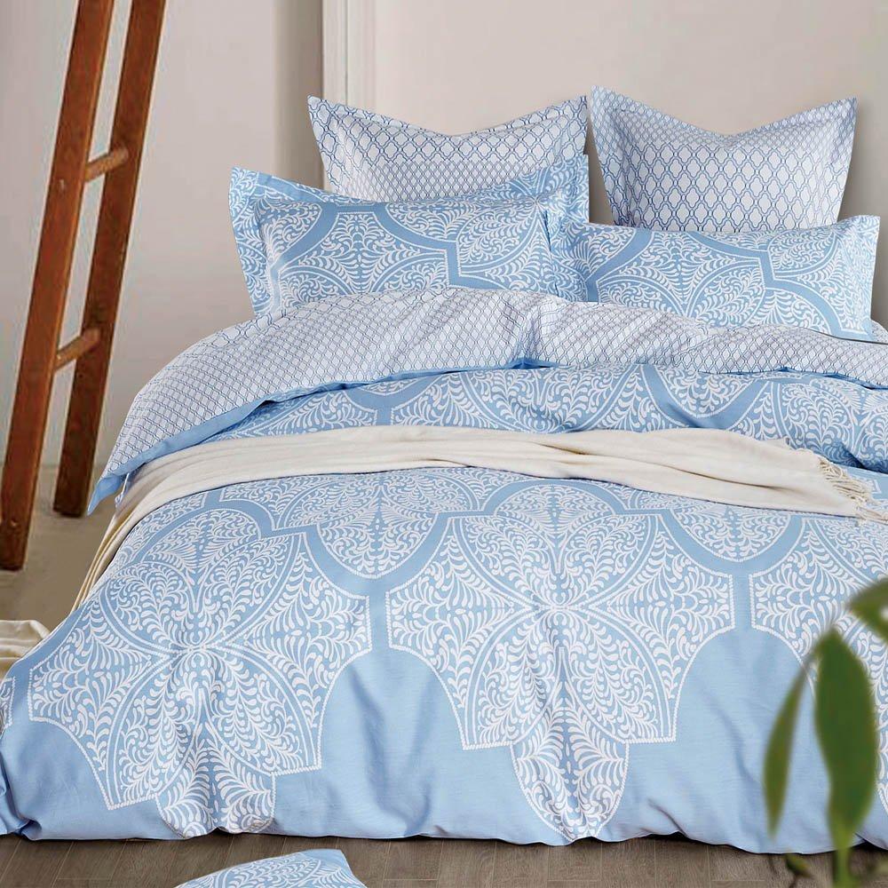 【Betrise】加大-環保印染德國防螨抗菌精梳棉四件式兩用被床包組-清風徐來