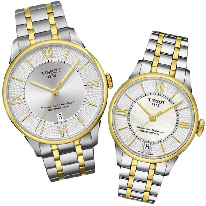 TISSOT天梭 T0994072203800+T0992072211800 雙色杜魯爾羅馬機械腕錶/白 42+32mm
