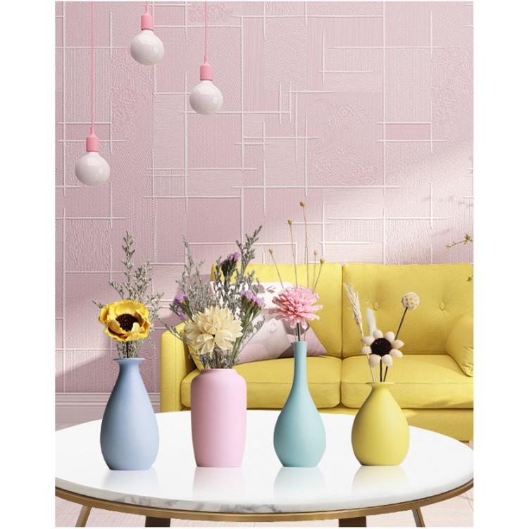 陶瓷小花瓶裝飾櫃擺件家居客廳裝飾幹花花插馬卡龍糖果色手工花器 - 四個一組+幹花