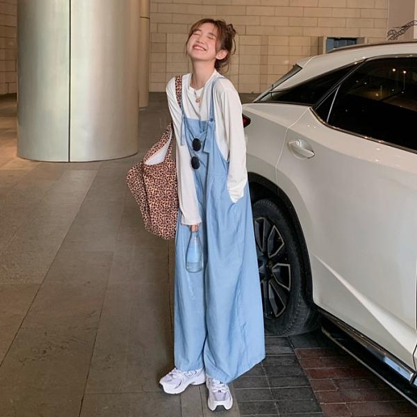 背帶褲夏季新款韓版高腰寬鬆洋氣減齡薄款直筒闊腿休閒連體背帶長褲女潮 雲朵走走