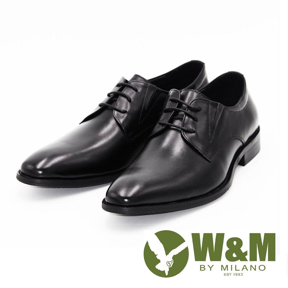 W&M 真皮尖頭綁帶休閒男鞋皮鞋-黑