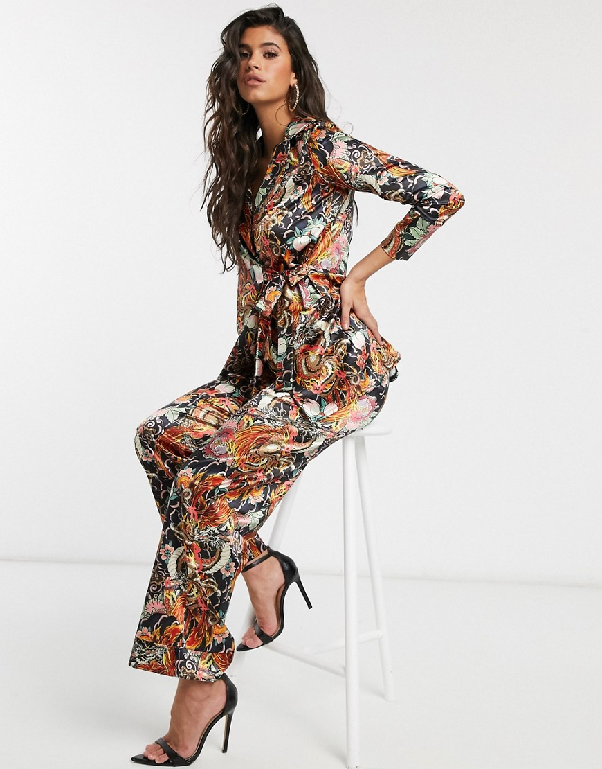 New Girl Order wrap kimono in dragon floral satin co-ord-Multi