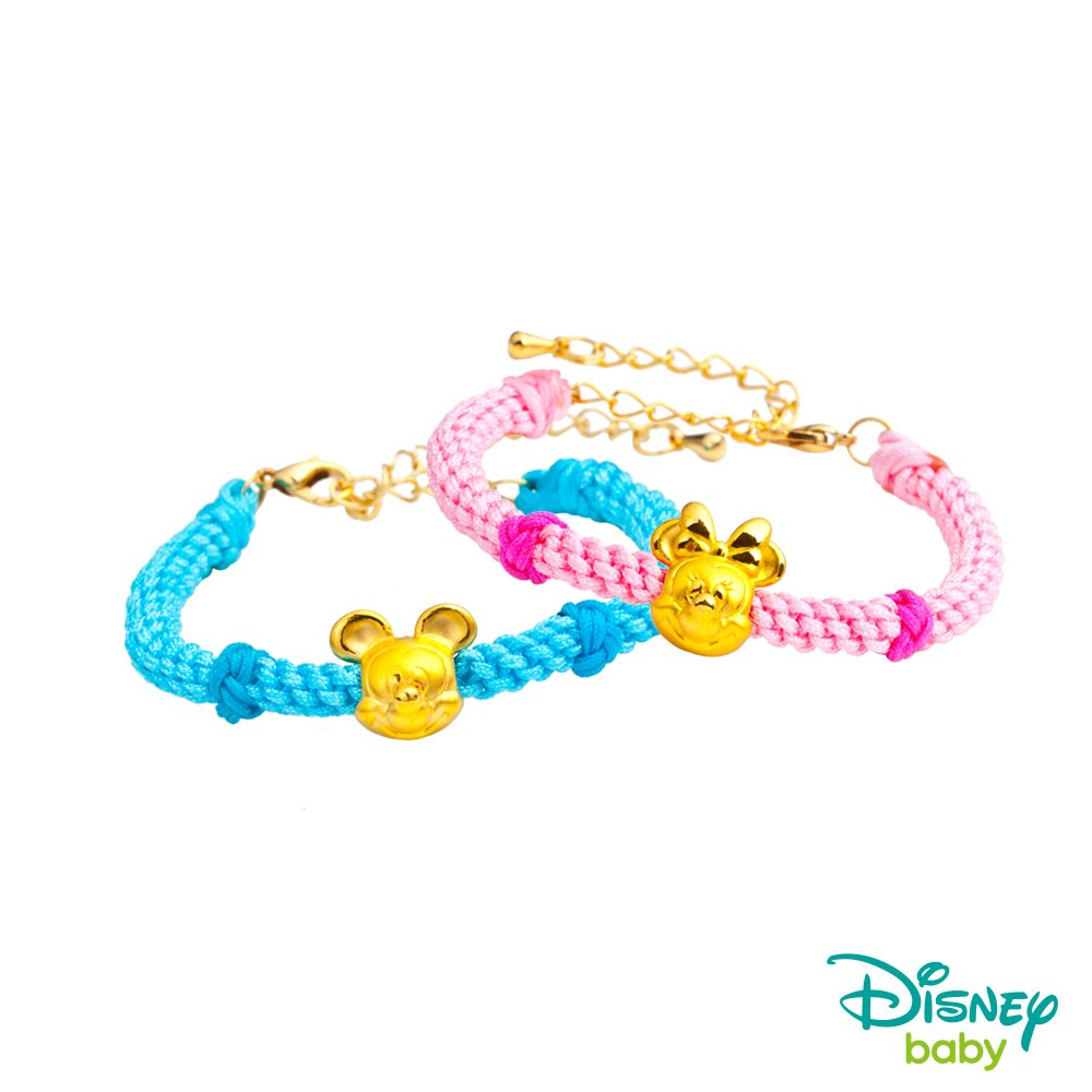 Disney迪士尼金飾 黃金編織手鍊-平安結米奇+平安結美妮款