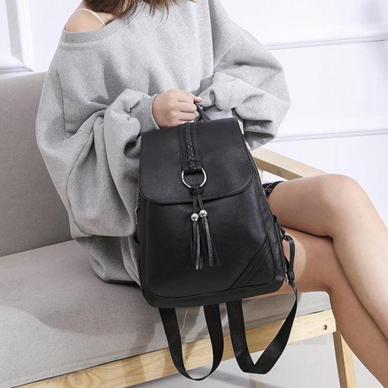 雙肩包女士2020新款正韓百搭小背包包軟皮休閒時尚旅行2019大書包