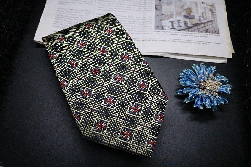 復古提花真絲領帶/經典棱形老花復古領帶
