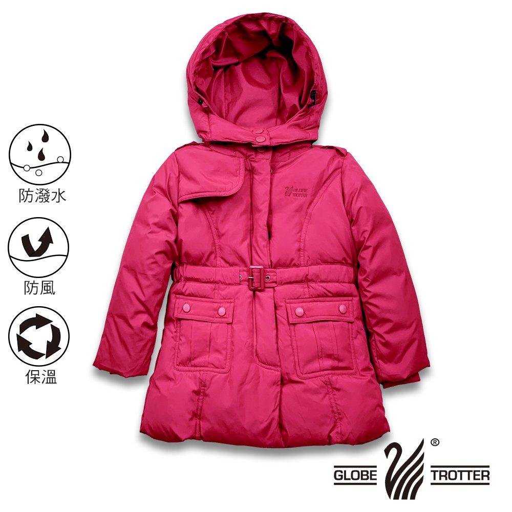 【遊遍天下】童款中長版防風防潑水90%羽絨可拆連帽外套GJ22016玫紅