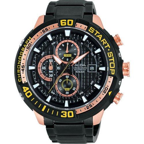 ALBA 雅柏 SignA 疾速奔馳計時腕錶-黑x玫瑰金/49mm VD57-X016K(AM3102X1)