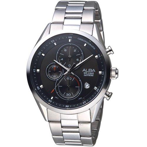 ALBA 雅柏 日系潮流三眼計時腕錶 VD57-X106D AM3463X1 黑