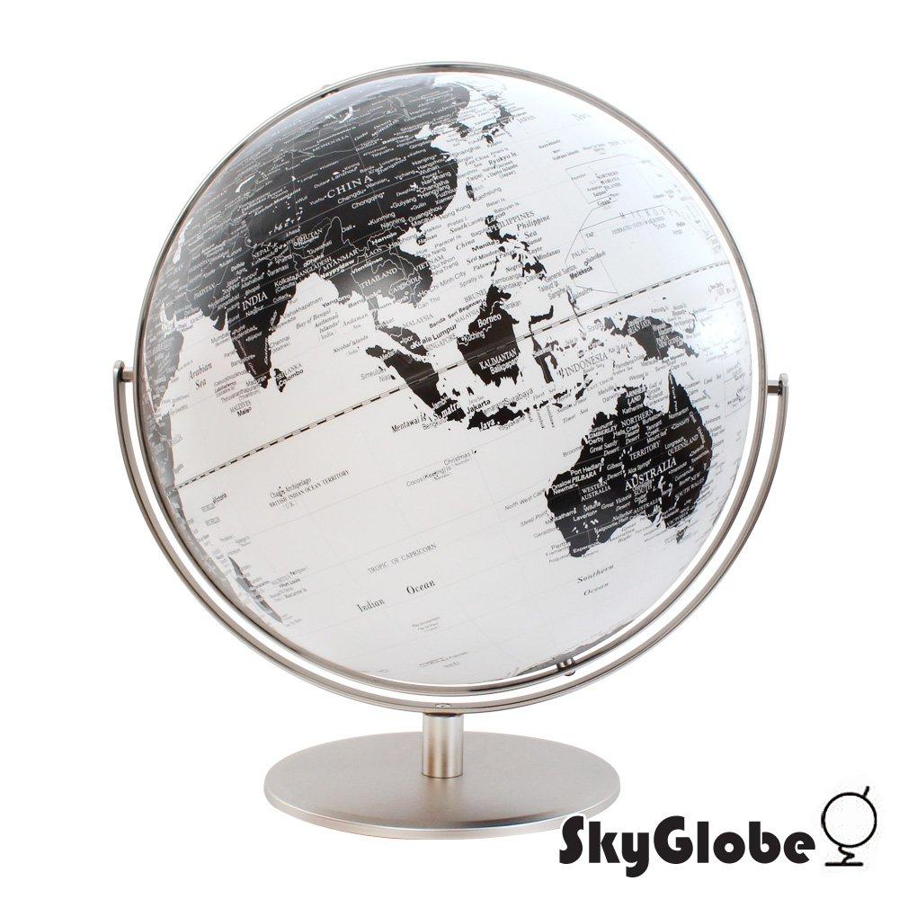 【SkyGlobe】17吋360度白色海洋金屬雙軸地球儀(英文版)