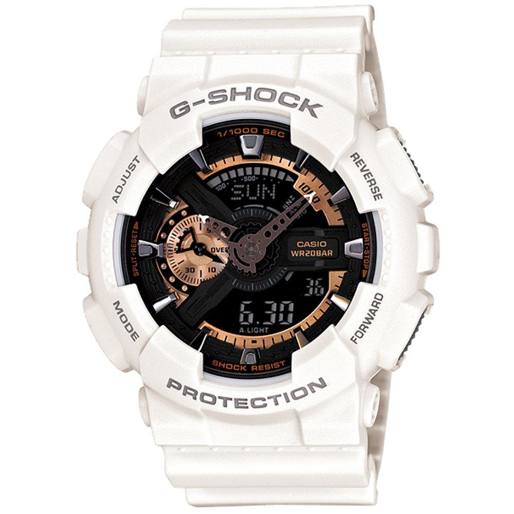 【CASIO】G-SHOCK 復古重機型裝置機械感雙顯錶-白 (GA-110RG-7A)
