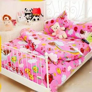 【Smiley World】《彩虹蝸牛窩Wonderland》雪芙絨雙人床包三件組《童話粉》