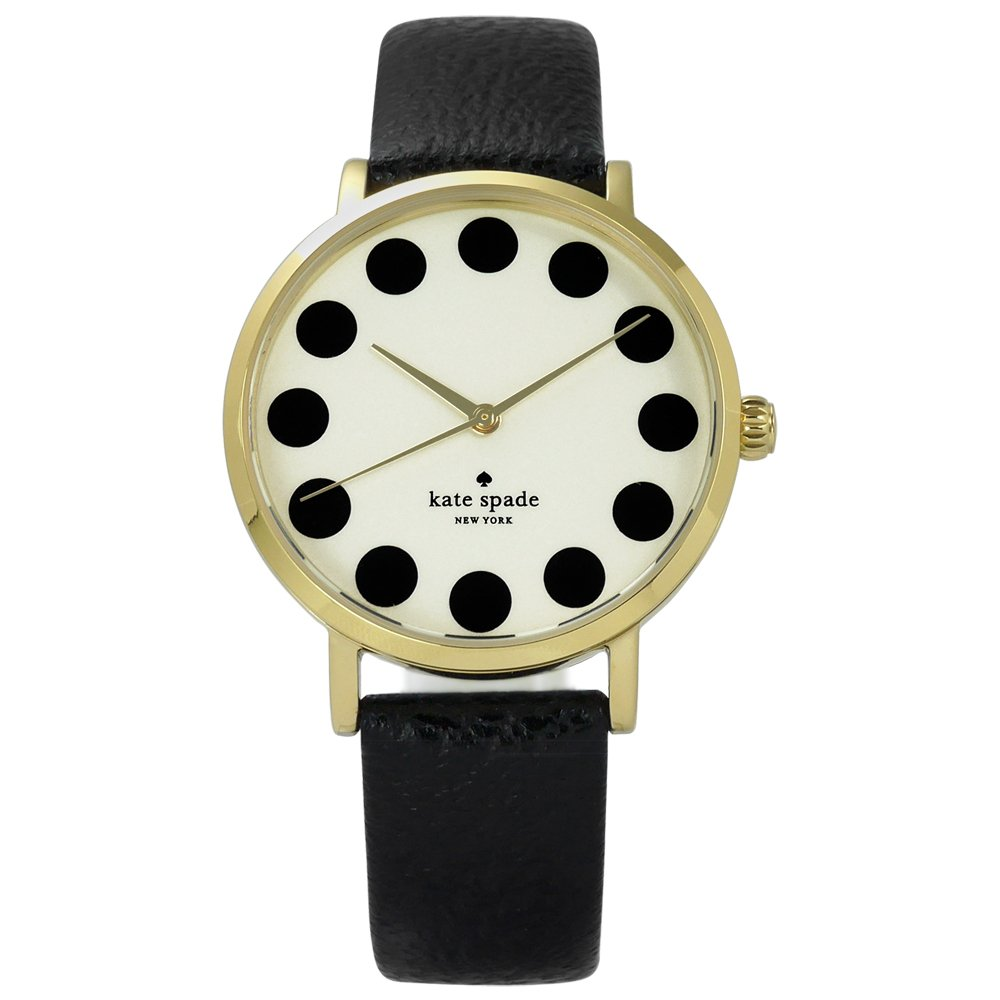 Kate Spade/ 1YRU0107 / Metro 美國復刻主流真皮手錶 米黃x金框x黑 34mm