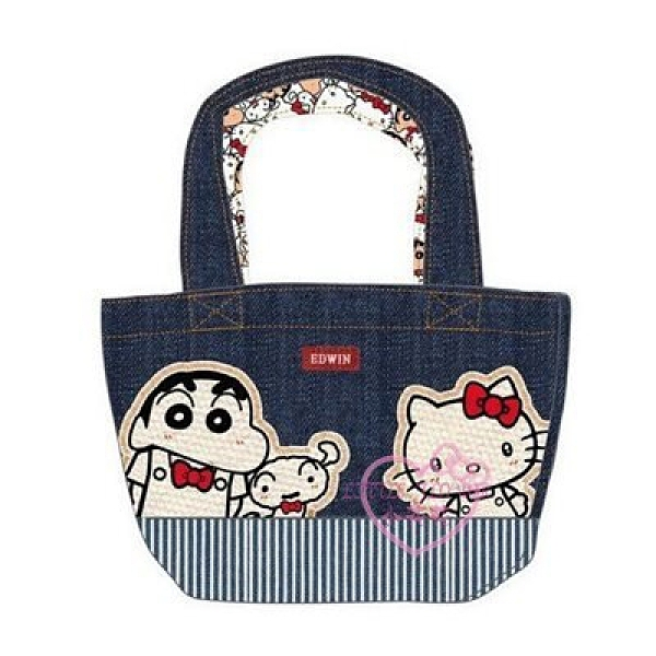 小花花日本精品HelloKitty蠟筆小新小白EDWIN牛仔品牌聯名提把特殊設計外出包小提包午餐袋10030905