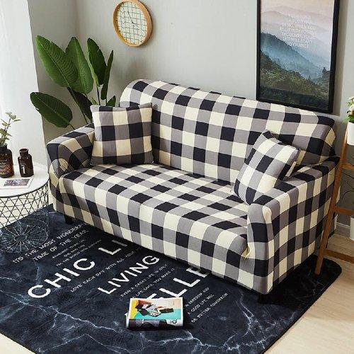 【歐卓拉】日風格紋彈性沙發套-3人座