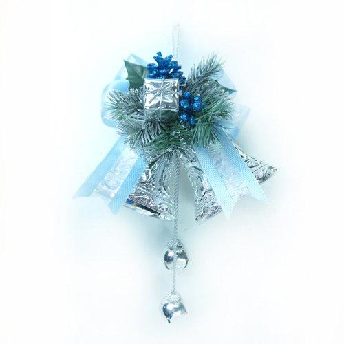 4吋雙花鐘吊飾-藍銀色
