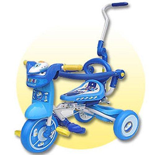 【孩子國】 兒童可後控摺疊豪華三輪車 藍色