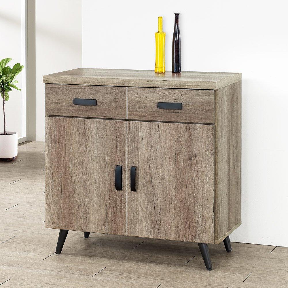 【YoStyle】喬治2.7尺碗盤收納櫃(古橡木)-免組裝