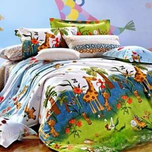 【情定巴黎-野遊趣】加大四件式精梳棉兩用被床包組