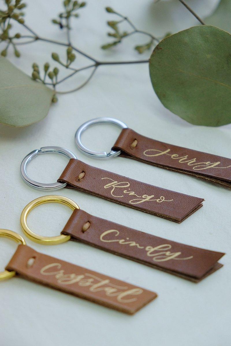 cottontail 客製 手寫西洋英文書法 手工皮革 鑰匙圈