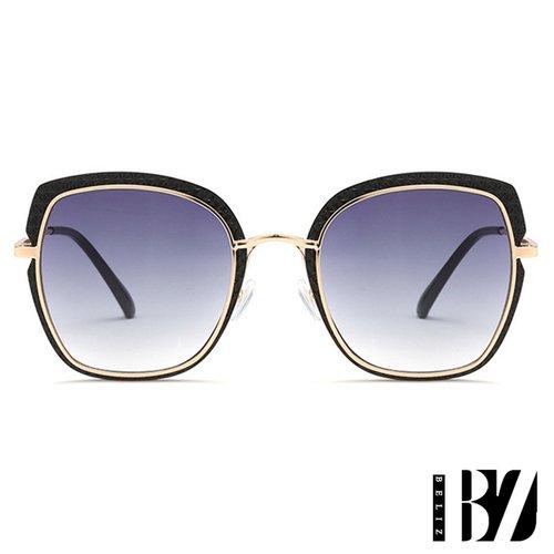 【BeLiz】菱紋方框*透視炫色墨鏡/漸層黑