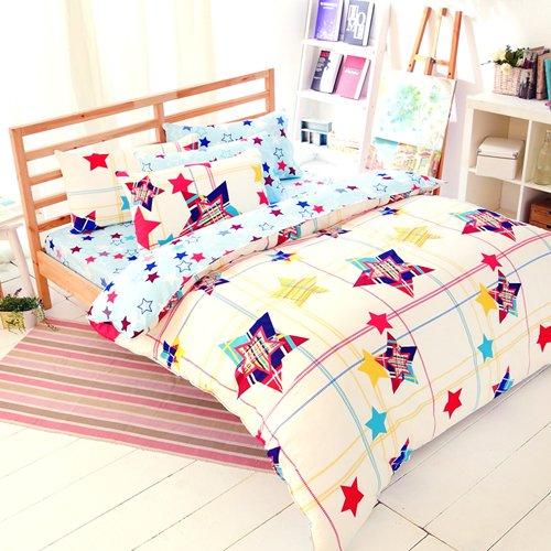 【FOCA-星光氛圍】四件式100%精梳純棉兩用被床包組-加大