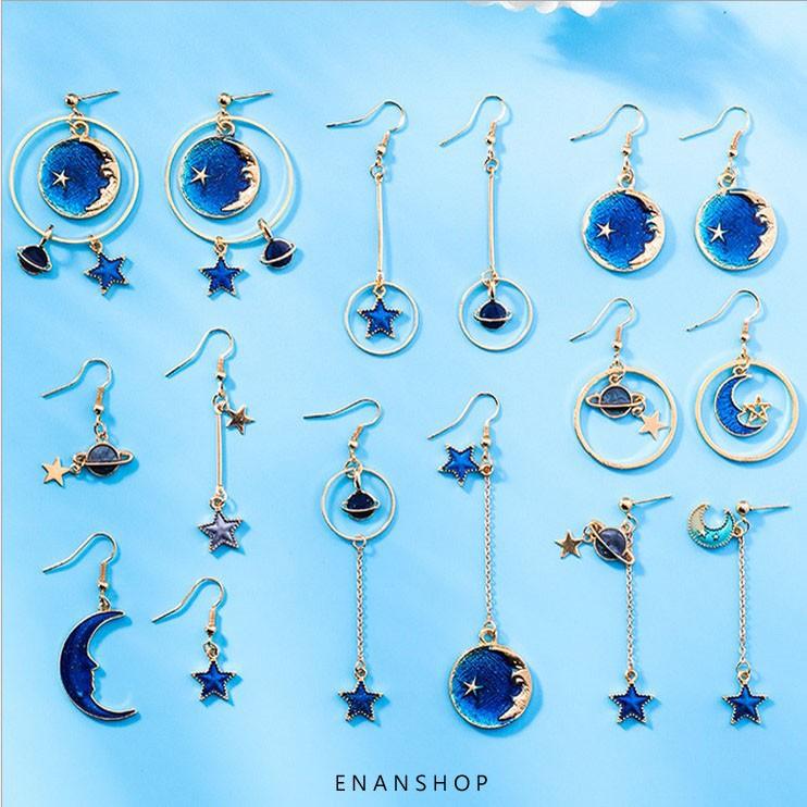 藍色系星球耳環 星星月亮 氣質 耳環 可改無耳洞 耳夾 耳鉤 不對稱耳環 惡南宅急店【0290D】