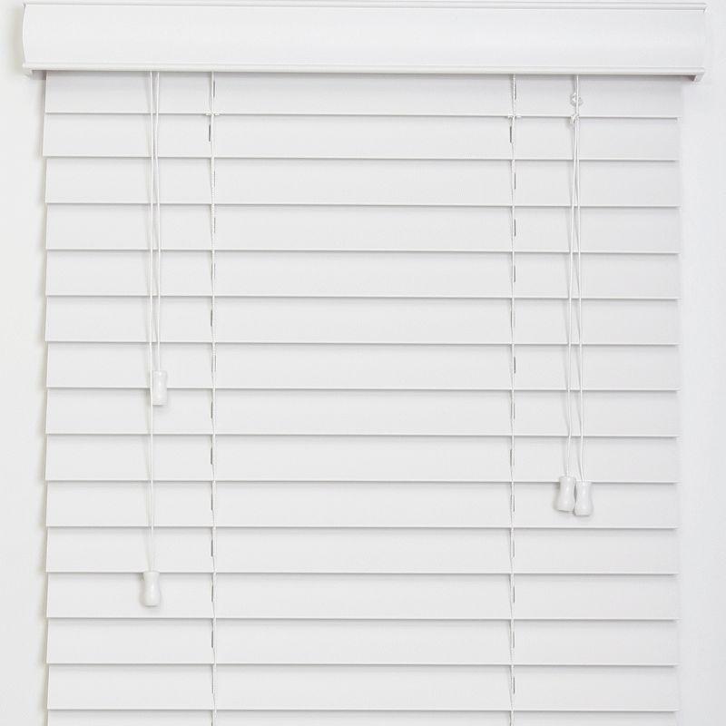 50mm Smooth Slat Traditional PVC Foam Wood Faux Wood Window Venetian Blinds 150x137 50 White