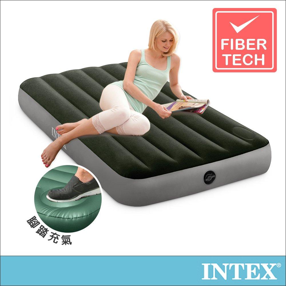 【INTEX】經典單人加大充氣床墊(fiber-tech)-內建腳踏幫浦-寬99cm(64761)