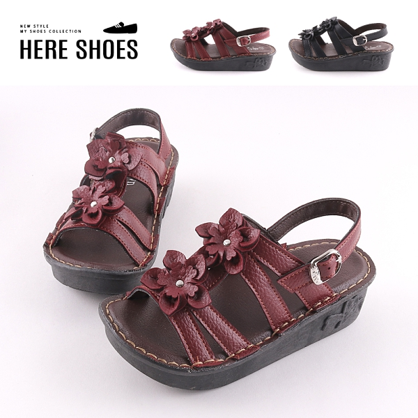 [Here Shoes]前3後5cm涼鞋 皮革立體花朵 圓頭楔型厚底 復古涼拖鞋 MIT台灣製-AN556S