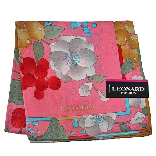 LEONARD 經典牡丹花帕領巾-粉色