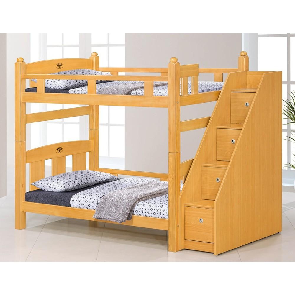 葛萊美3.5尺檜木色雙層床(含收納樓梯)大台北都會區免運費