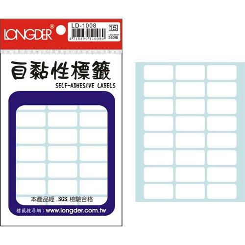 【龍德 LONGDER 自黏性標籤】LD-1008 白色 標籤貼紙 12x24mm (20包/盒)