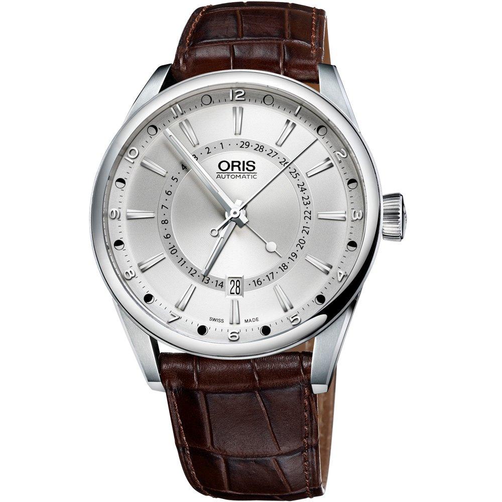 Oris 豪利時 Artix 指針式月亮周期腕錶-銀x咖啡/41mm 0176176914051-0752180FC