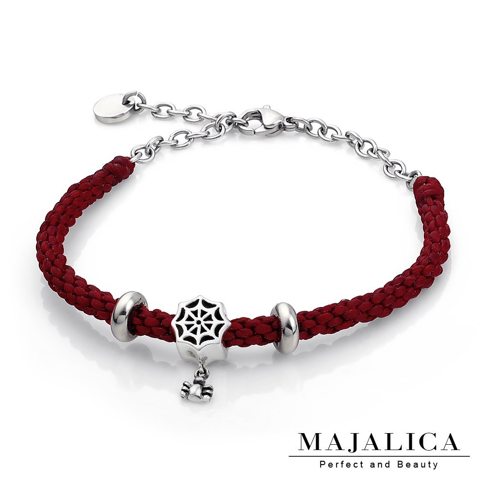 Majalica 925純銀 編織情網 編織蠟繩手鍊-紅色