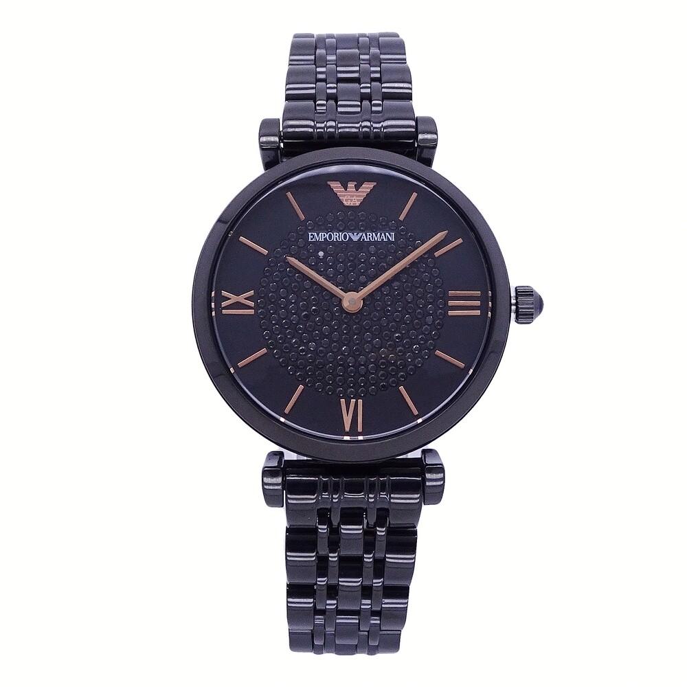 armani 優雅晶鑽時尚尊貴女性腕錶-黑-ar11245