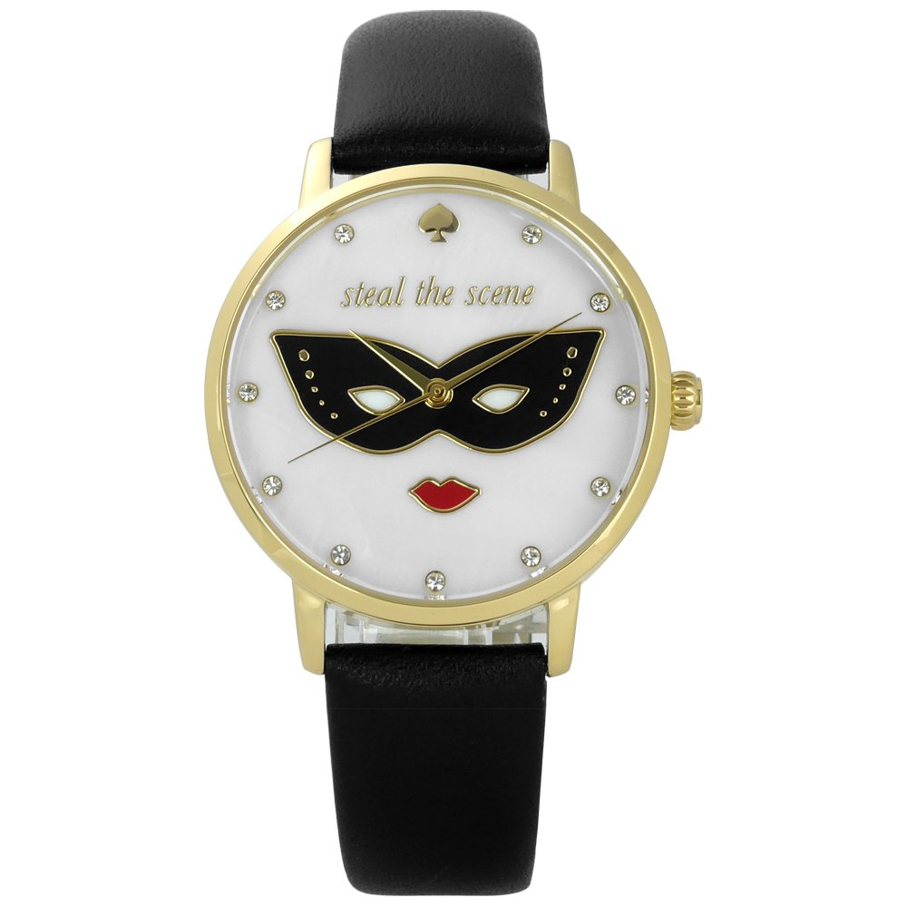 Kate Spade/ KSW1181 / 經典紅脣女王真皮手錶 白x金框x黑 34mm